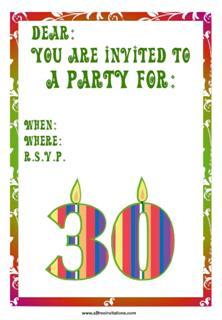 30th birthday invitation candles