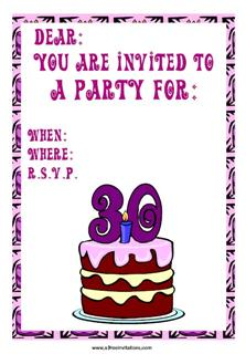 30th birthday invitation chocolate cake