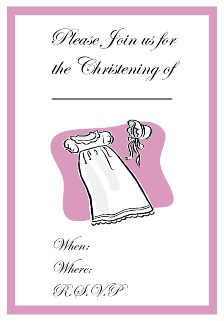 purple border christening invite