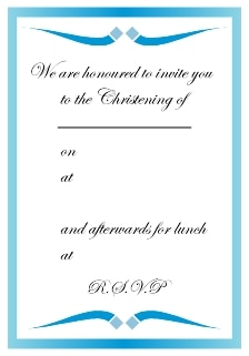 Blue boys baptism invitation