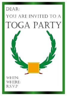 Greek style toga party invitations