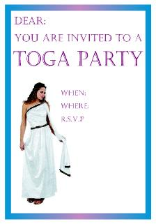 Toga Party Invitations Free Printables College Party