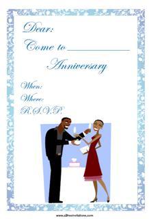Anniversary invitation couple giving gift