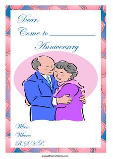 elderly couple wedding anniversary invitation