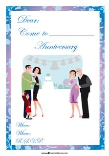 anniversary party invitation couple with child