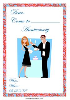 Anniversary party invitation young couple