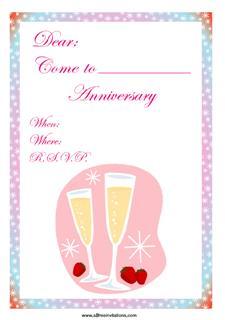 Happy anniversary invitation champagne strawberries
