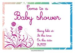 pink abstract baby shower invitation