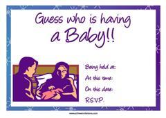 Purple couple baby shower invitation