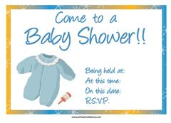 Blue Yellow baby shower invite