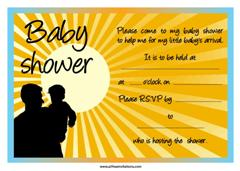 Yellow rising sun baby shower invitation