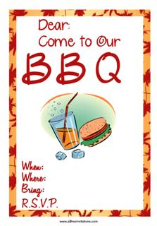 BBQ party invitation burgers n drinks