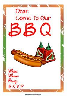 Backyard BBQ invitation hotdog ketchup
