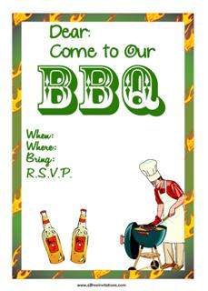 BBQ chefs hat invitation