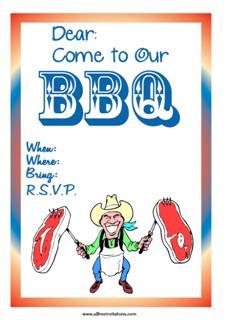 BBQ steak swinging cowboy invitation