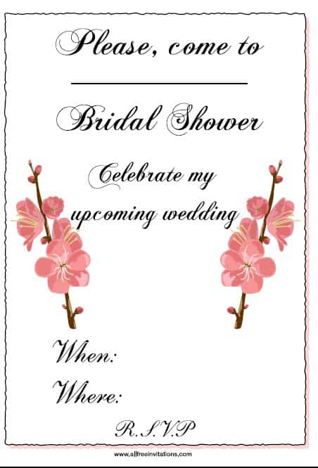 Get free inviations for a bridal shower party