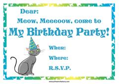 Free cat birthday invitation green theme