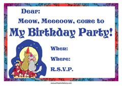 Meow meow cat birthday blue