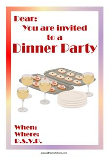 Dinner party invitation wine roast