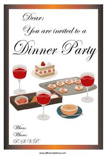 Dinner party invitation red wine canapes