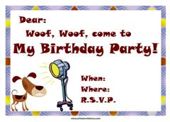 Free dog birthday party invitaton spotlight