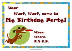 Green border dog with frisbee birthday invitation