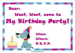 Purple theme dog birthday invitation cake candles