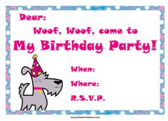 dog with birthday cake party invitation
