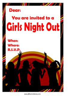 Girls night out invitations dancing
