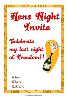 Champagne hens night invitation