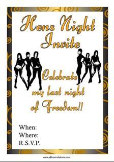 Black Gold hens night invitation