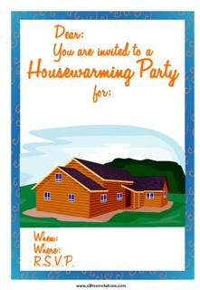 housewarming party log cabin invitation