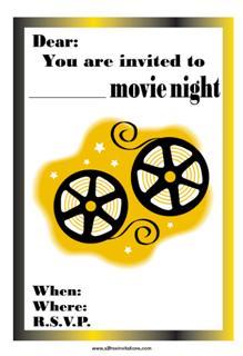 Free Invitations  Movie Night Invitations Free Printable