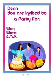 Party invitation women present