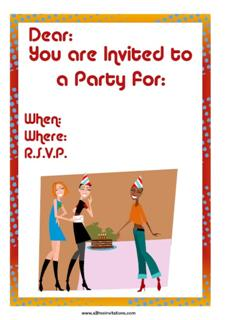 Free party invitation girls young