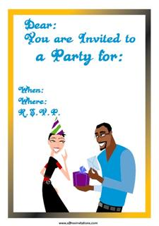 Free party invitation man woman gift card
