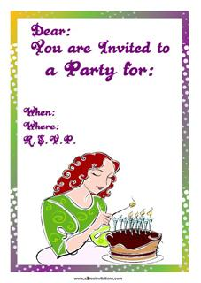 Free party invitation lady in green dress