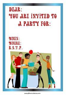 Black & white couples party invitation presents