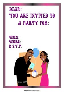 Black couple exchanging gifts party invitation
