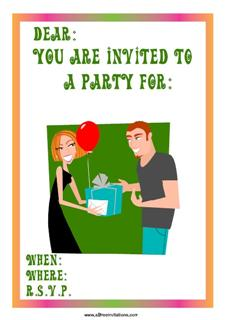 Wranger couple party invitation exchanging gifts balloon