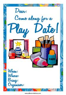 Play date invitation painting drawing