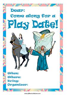 Playdate invitation wizard fairy princess blue
