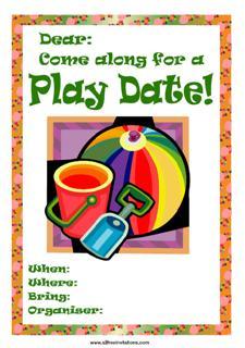 Playdate invite beach ball bucket shovel red