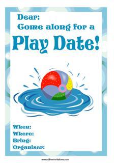 play date invitation swimming pool ball splashing