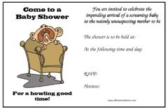 Humourous baby shower invitations
